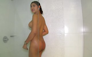 Busty Ladyboy Takes A Shower