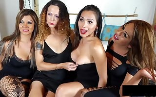 Tranny Orgy with 4 shemales
